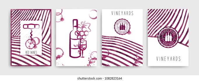 Collection of templates with wine designs. Brochures, posters, invitation cards, promotion banners, menus, books. Wine stains background. Vector illustration. Layered. CMYK colors.