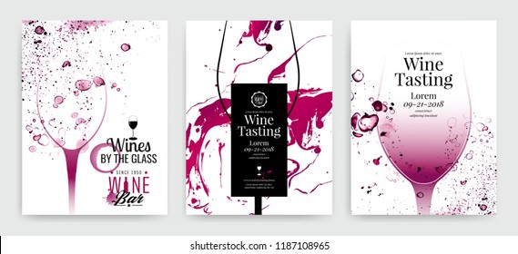 Collection of templates with wine designs. Brochures, posters, invitation cards, promotion banners, menus. Background effect wine drops. Vector illustration.