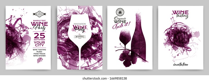 Collection of templates with wine designs. Brochures; posters; invitation cards; promotion banners; menus. Wine stains background. Vector illustration. Layered