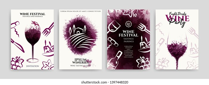 Collection of templates with wine designs, illustration of wine glasses with spots and food symbols. Brochures, posters, invitations, promotional banners, menus. Vector illustration
