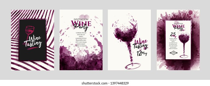 Collection of templates with wine designs, illustration of wine glasses with spots. Brochures, posters, invitations, promotional banners, cards. Vector illustration