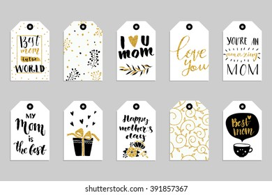Collection of ten gold texture Happy Mother's day cute ready-to-use gift tags. Set of 10 printable hand drawn holiday label in black white and gold. Vector seasonal badge design