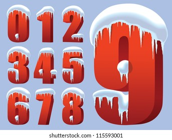 Collection of ten red numbers under snow