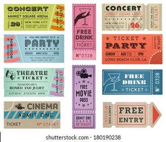 A collection of ten vector grunted Tickets, Vector file is organized with layers, with every ticket divided into 3 layers, separating Background Shape from the texture effect and text.