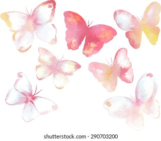 A collection of tender toned watercolour butterflies, scalable vector graphic