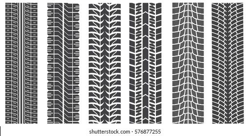 Collection textures of vector tire tracks with separate grunge texture, tire marks, tire