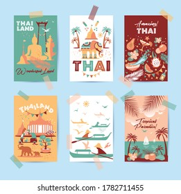 Collection of Thailand symbols in six cards. Vector poster. Postcard in trend color. Travel illustration. Web banner of travel in differente composition.