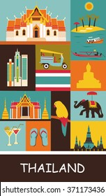 Collection of Thailand symbols. Vector