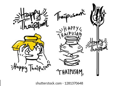 Collection of Thaipusam Line Art - Handrawn Vector