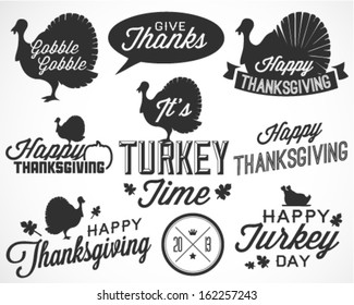 Collection of Thanksgiving Calligraphic Vector Illustrations in Retro Style