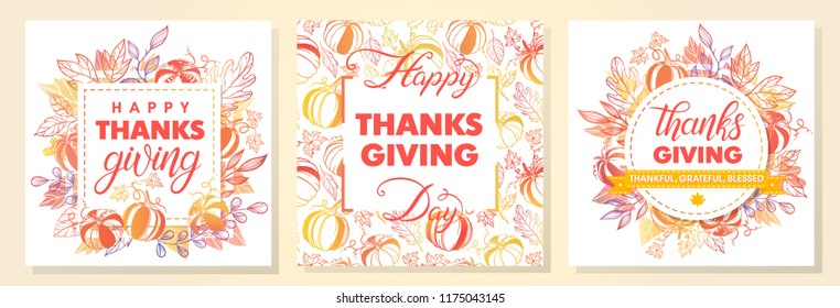 Collection of Thanksgiving Day greetings,hand painted lettering,autumn bouquets,pumpkins and leaves.Perfect for prints,flyers,cards,promos,holiday invitations and more.Vector autumn illustrations.