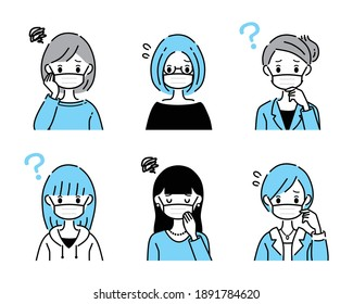 A collection that multiple women are worried about.Female version wearing a mask.