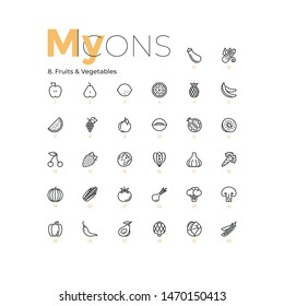 Collection of thin line pictograms, outline icons or linear web symbols. Fruits, vegetables and berries, organic vegetarian food. Healthy nutrition. Modern vector illustration for website, logotype.
