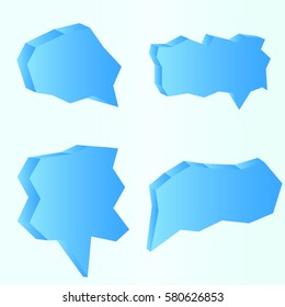 Collection of think and talk speech bubbles in the form of ice on light blue background.