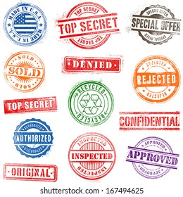 Collection of Thirteen Hi detail commercial grunge multicolored stamps