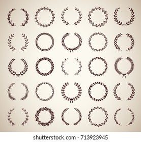 Collection of thirty circular vintage laurel wreaths. Can be used as design elements in heraldry on an award certificate manuscript and to symbolize victory illustration in silhouette