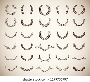 Collection of thirty round vintage laurel wreaths. Can be used as design elements in heraldry on an award certificate, manuscript and to symbolise victory illustration in silhouette