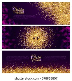 Collection of three abstract banners with a scattering of bright sparkling sequins glittering confetti on a dark purple background