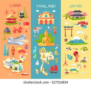 Collection of three asian countries. China. Thailand. Japan. Specific features of each country. Panda, long wall, dragon, statues. Elephant, modern building, Buddha, ship. Mountain, sushi. Vector