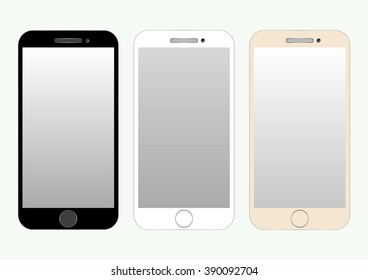 Collection of three colored smartphones isolated on a light background