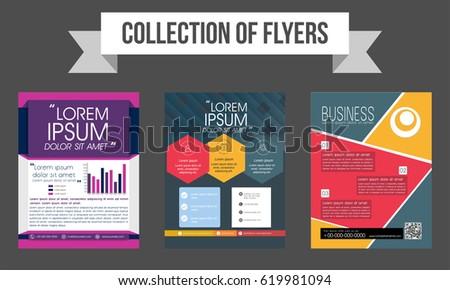 Collection Three Creative Flyers Templates Design Stock Vector