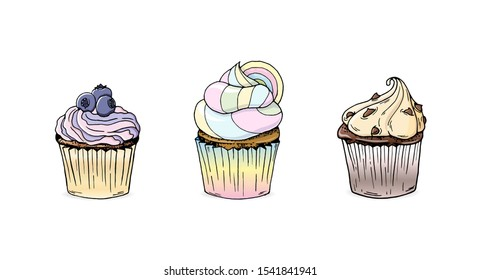 A collection of three cupcakes in hand drawn style. Blueberry, rainbow and coffe and chocolate chips cupcakes. Set of doodle style cupcakes. Eps 10 vector illustration.