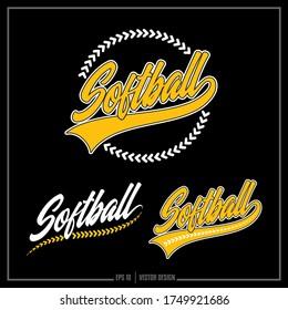 Collection of three white and yellow Softball insignias, Softball Stitches, Sports Logo