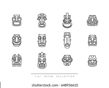 Collection Tiki Totem in linear style vector illustration.
