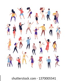 Collection of tiny people dancing on dance floor at night club isolated on white background. Joyful men and women having fun at rave, disco party or music festival. Flat cartoon vector illustration.