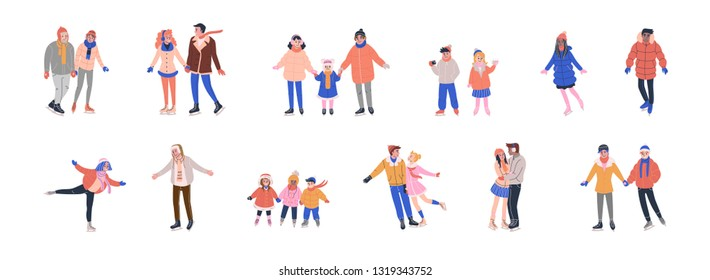 Collection of tiny skating people dressed in winter clothes and having fun on ice rink with family and friends. Isolated vector illustrations in flat style.