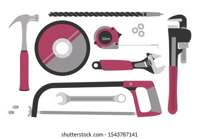 Collection of tools for construction and repair: hammer, circle for a grinder, drill, hacksaw, roulette, adjustable wrench, spanner, pipe wrench, nuts. Vector illustration. Isolated on white.