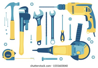 Collection of tools for construction and repair: hammer, angle grinder, pipe wrench, adjustable wrench, spanner, drill, screwdriver, roulette, screws, nails, bolt. Vector. Isolated on white.
