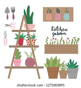Collection of tools and equipment for indoor gardening in cute cartoon style. Garden elements: staircase with flowerpots, seeds, spade,scissors,box, flowerpots, grass and leaves. Spring time
