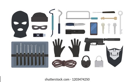 Collection of tools and equipment for theft, robbery, burglary, housebreaking - lock picks, padlocks, masks, rope, flashlight, gun, knife, saw isolated on white background. Flat vector illustration.