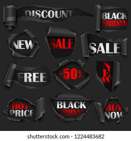 Collection of Torn Black Papers, Sale, Discount. Vector illustration