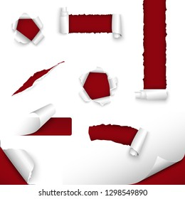 Collection of torn paper in red white design template