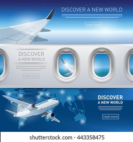 Collection of tourism themed banners with airplane, wing and porthole illustrations