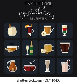 Collection of traditional beverages for Christmas made in flat style.