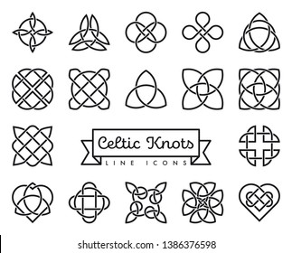 Collection of traditional celtic knots line icons vector illustration. Spirituality, religion and occultism symbols.