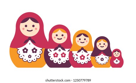 Collection of traditional Russian folk handcrafted nesting dolls isolated on white background. Bundle of matryoshkas of different size. Popular touristic souvenir. Flat cartoon vector illustration.