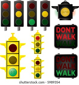 Collection of traffic signals in different stages of changes