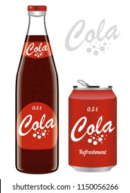 Collection transparent bottle and aluminum can of cola. Set labels soda pop. Isolated on white background.