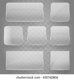 Collection of transparent square glass banners with rounded corners and gloss reflection effect. Vector illustration icons set. Glass glare square reflecting round grey