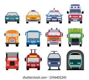 Collection of transportation icons presenting different modes of transport on land. Set of front view flat icons of police car, ambulance car, fire department vehicle, taxi car, garbage collector, sch