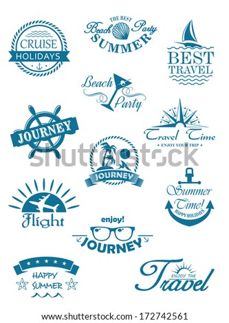 741f8d6fe899f Collection Travel Icons Blue Depicting Travel Stock Vector (Royalty ...