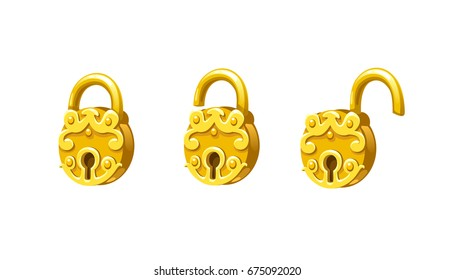 Collection of tree cartoon padlocks: open and closed. Game and app ui icons, decoration and design elements.