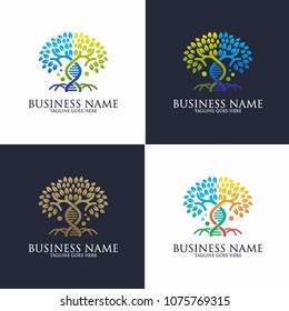 Collection Tree Genetic Logo Vector Template