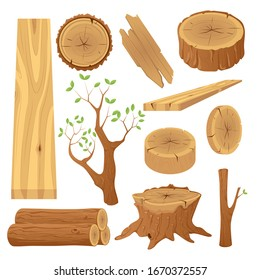 Collection of tree logs, planks, stump, twigs and trunks in cartoon flat style.Vector illustration set of materials for wood industry.