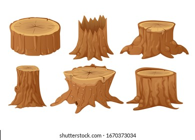 Collection of tree stumps and trunks in cartoon flat style.