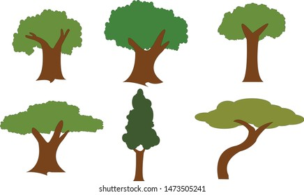 Collection of trees illustrations. Trees forest simple plant  icon.